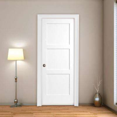 30 in. x 80 in. 3-Panel Equal Shaker White Primed RH Solid Core Wood Single Prehung Interior Door with Nickel Hinges