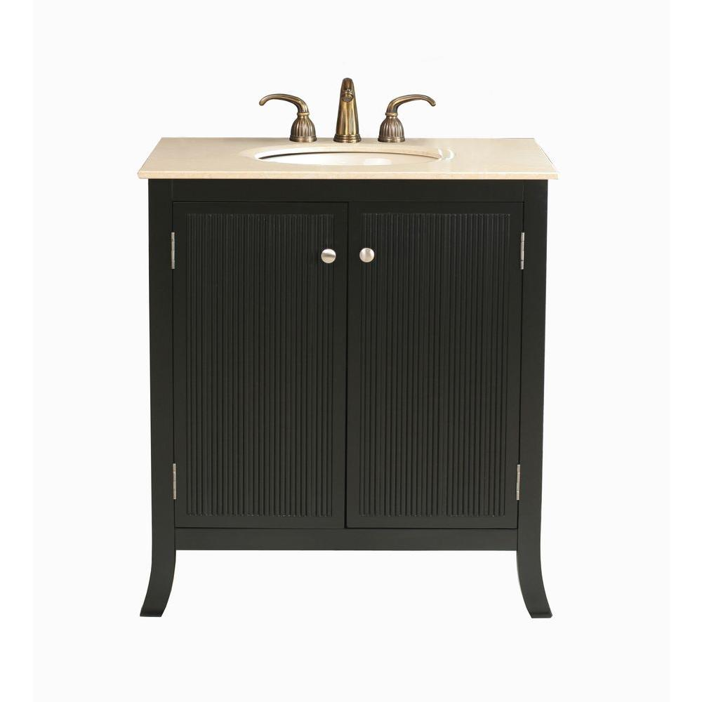 Virtu USA Strasbourg 32 in. Single Basin Vanity in Black with Natural Stone Vanity Top in Travertine-DISCONTINUED