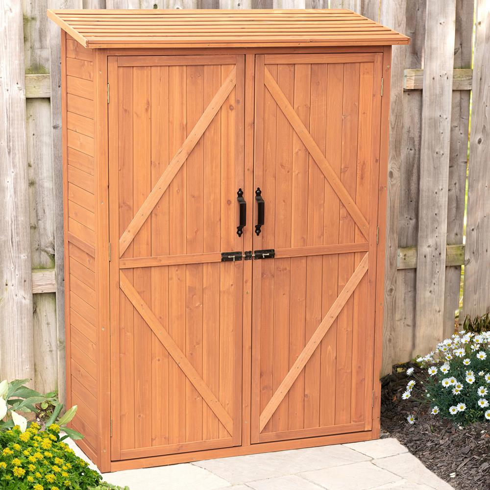 Leisure Season 49 in. W x 21 in. D x 64 in. H Medium Brown Cypress Multi-Compartment Storage Shed Cabinet