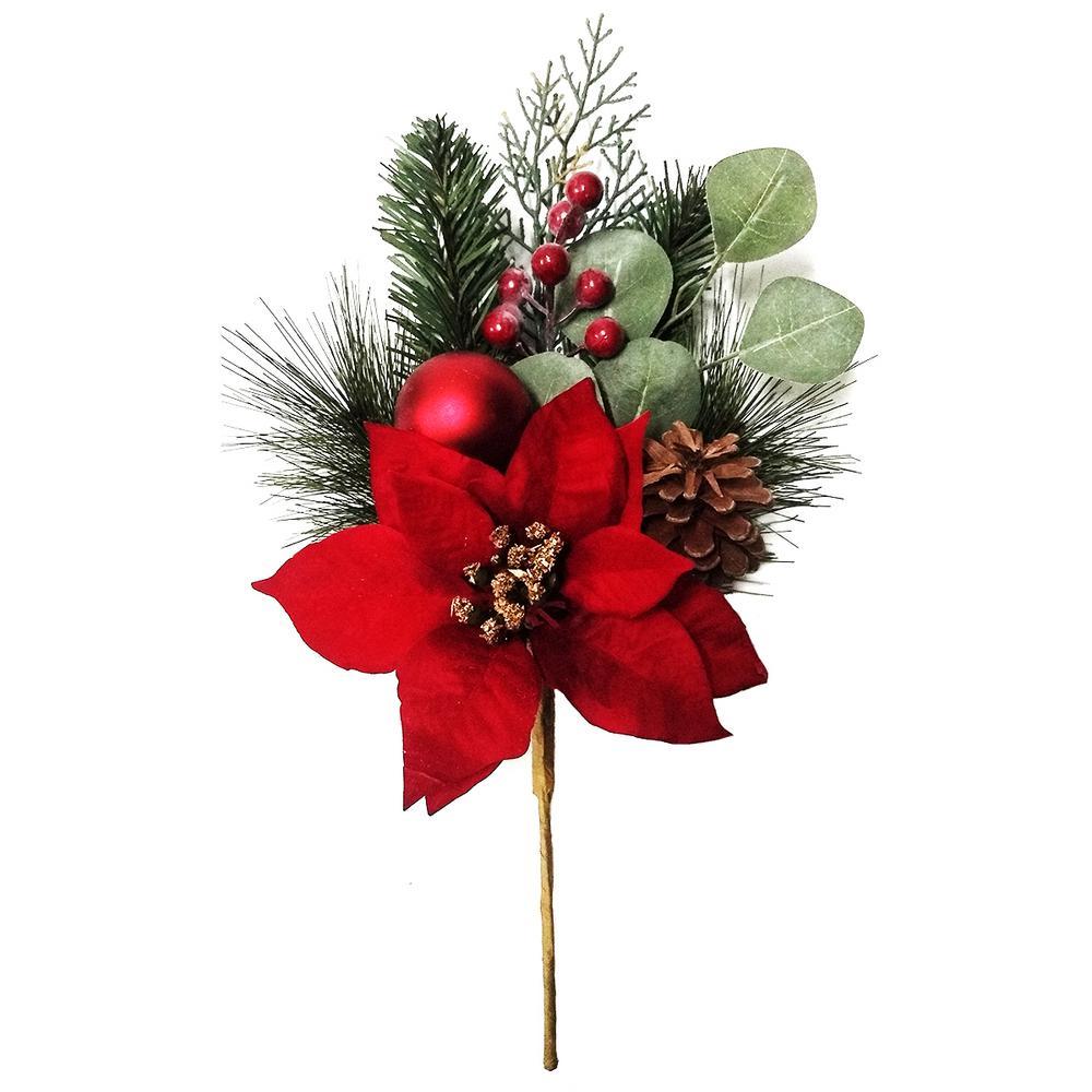 Jingle Jubliee 16 in. Poinsettia Decorative Pick Arrangement, Red