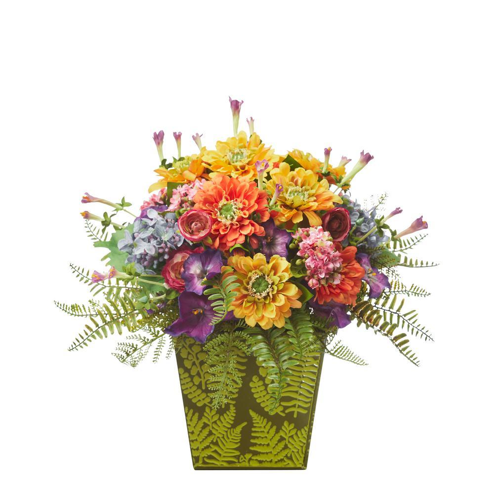 Mixed Flowers Artificial Arrangement in Green Vase