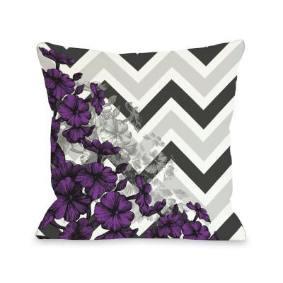 Amber Chevron Floral Polyester Throw Pillow