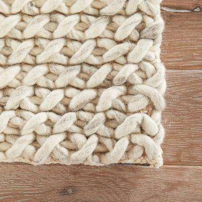 Textured Snow White 2 ft. x 3 ft. Solid Area Rug
