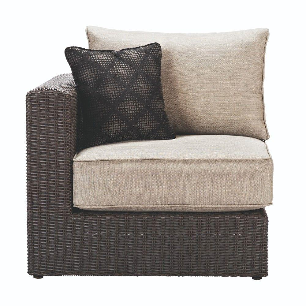 Elegant Naples All Weather Dark Wicker Patio Right Or Left Arm Sectional Chair With  Putty Cushions