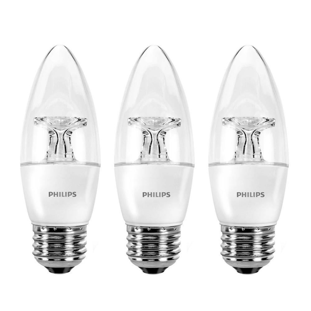 40-Watt Equivalent B11 Dimmable LED Energy Star Light Bulb Soft White (3-Pack)