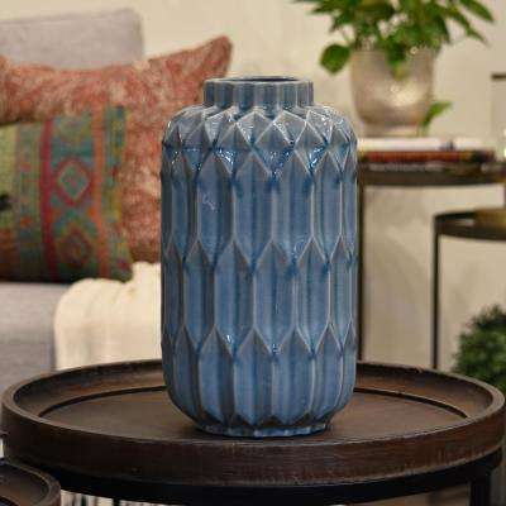 Blue Coated Washed Ceramic Decorative Vase