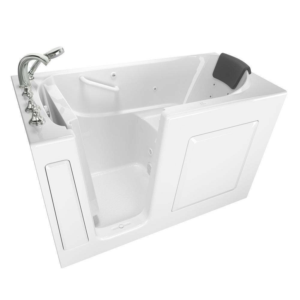 Gelcoat Premium Series 60 in. Left Hand Walk-In Whirlpool Bathtub in White