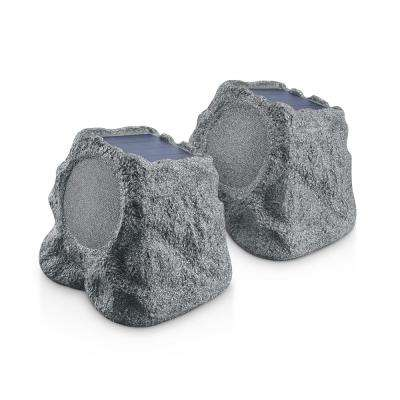 Solar Rok Blue Tooth Weatherproof Landscape Speakers With (ERB) Extended Range Bluetooth Technology-Gray Slate