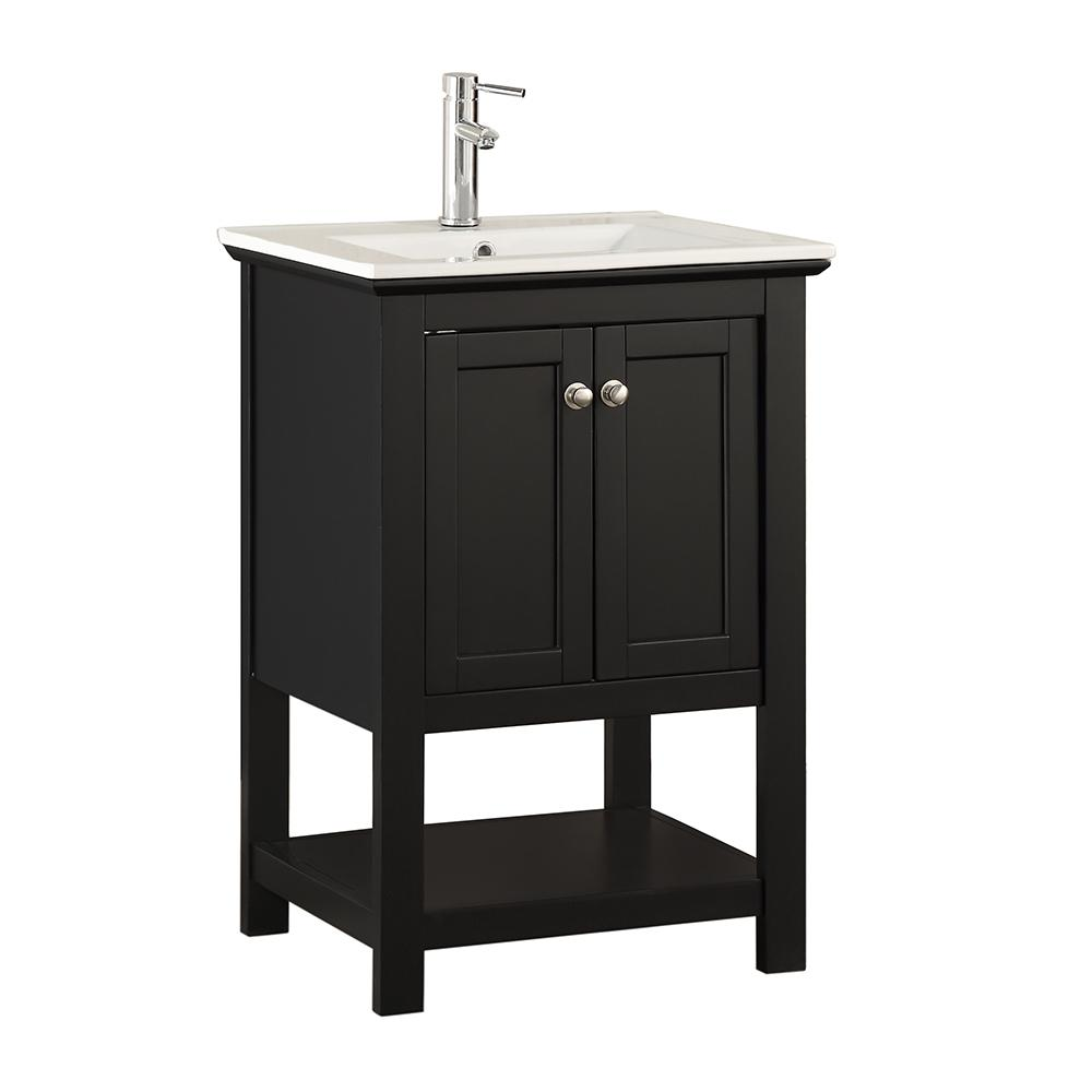 W Traditional Bathroom Vanity In Black With Ceramic Vanity Top In