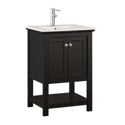 Bradford 24 in. W Traditional Bathroom Vanity in Black with Ceramic Vanity Top in White with White Basin