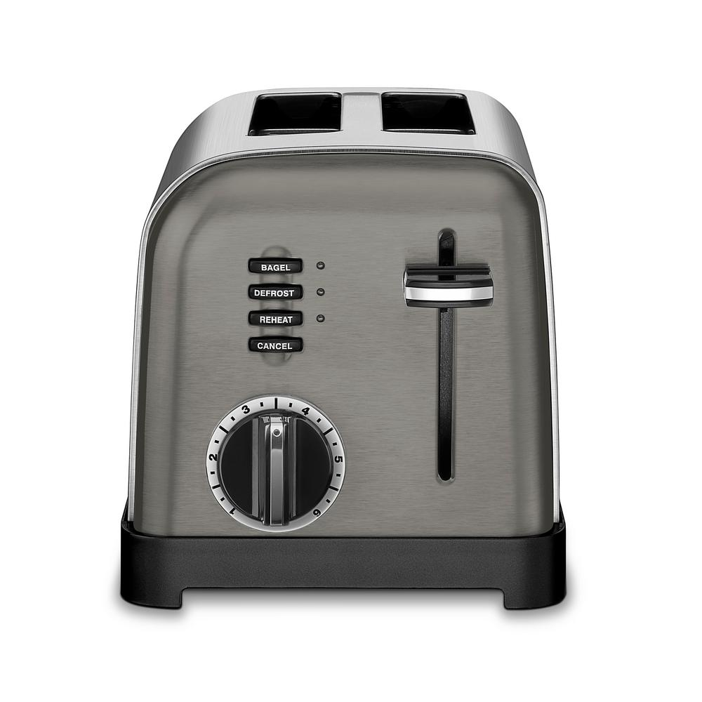 Classic 2-Slice Black Stainless Steel Toaster Cuisinart introduces another brand new look in toasters. Our New Black Stainless 2-Slice Toaster has a modern sleek design with a smooth brushed black stainless steel front panel and black-accented controls. 6-setting browning dial gives you many options. Toasts evenly and features a convenient Extra-Lift Carriage Lever for easy toast removal. This will enhance any kitchen counter.