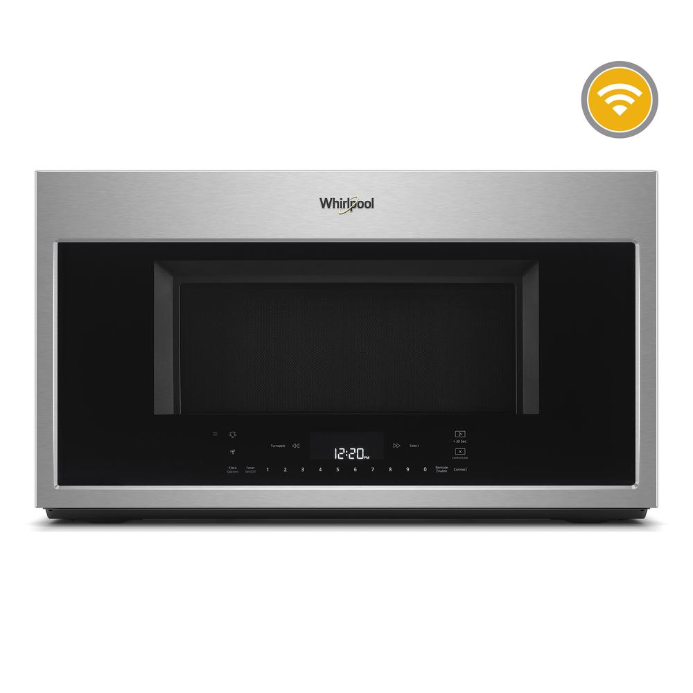 Whirlpool 1 9 Cu Ft Smart Over The Range Convection Microwave In Fingerprint Resistant Stainless