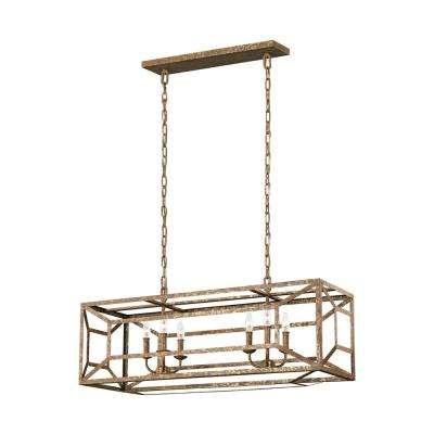 Marquelle 6-Light Distressed Goldleaf Chandelier