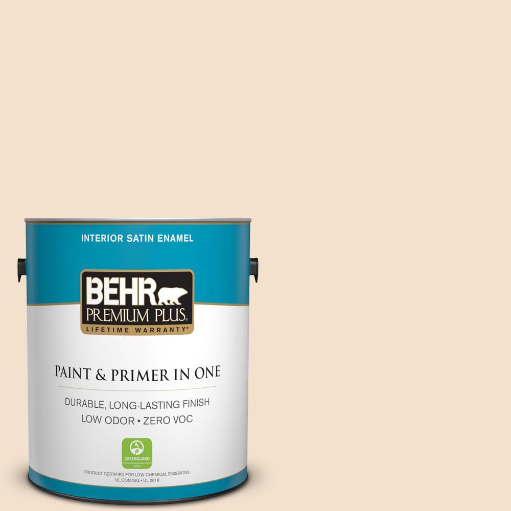 BEHR Premium Plus 1-gal. #BWC-08 Pebble Cream Satin Enamel Interior Paint