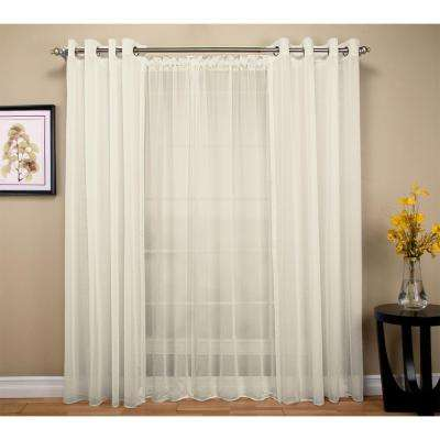 Tergaline 108 in. W x 84 in. L Double Wide Sheer Rod Pocket Window Panel in Ivory