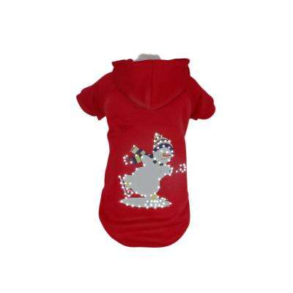 Medium Red Snowman LED Lighting Holiday Snowman Hooded Sweater Pet Hoodie