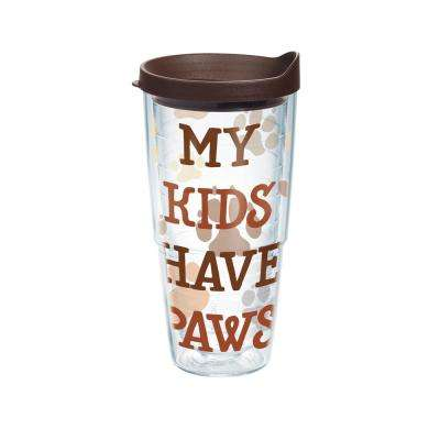 My Kids Have Paws 24 oz. Tumbler with Lid