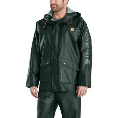 Men's Medium Canopy Green Polyethylene/Polyester Waterproof Rain Storm Coat