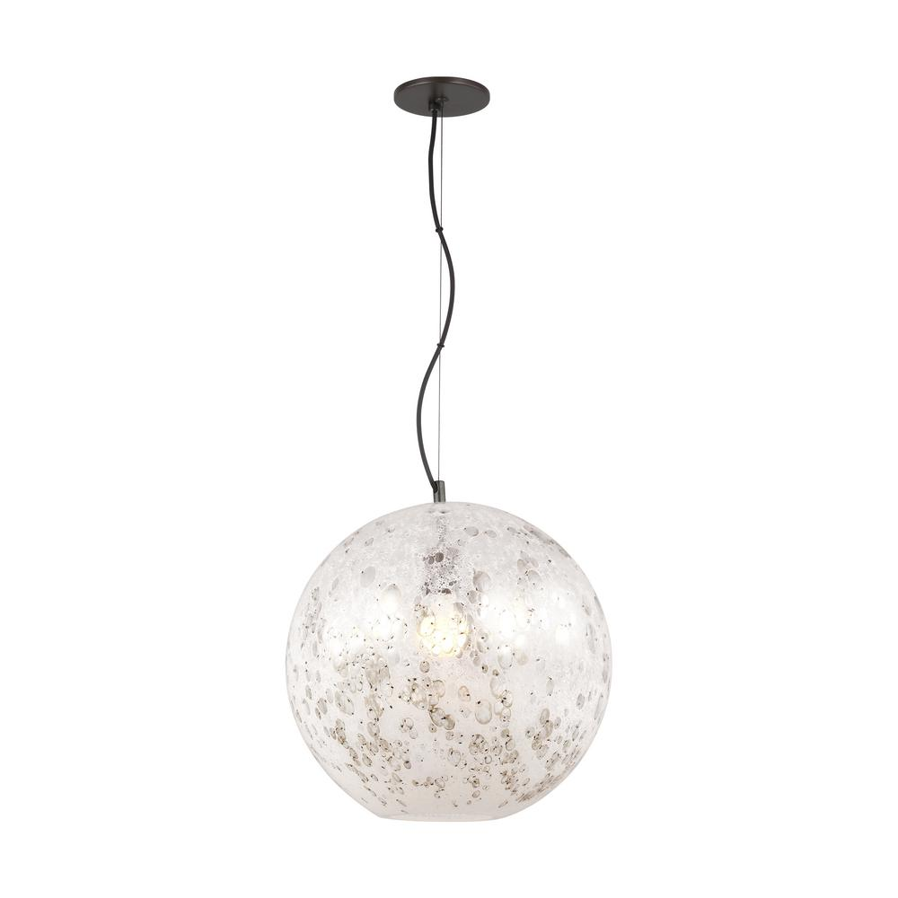 Lbl Lighting Malena Large 1 Light Antique Bronze Pendant With Pearl Bubble Gl