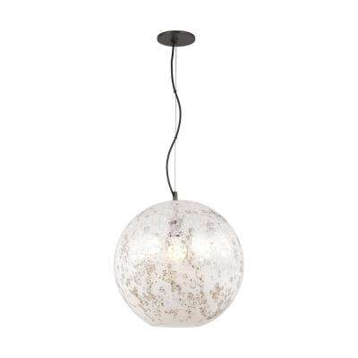 Malena large 1 light antique bronze pendant with pearl bubble glass