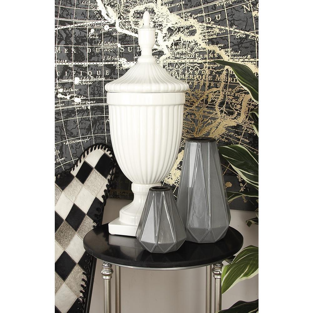 10 in. x 26 in. New Traditional White Ceramic Urn Vase
