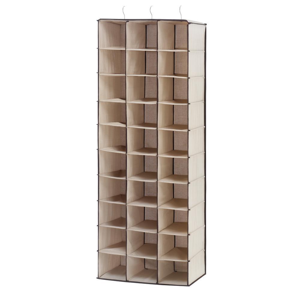 30-Section Hanging Shoe Shelf White