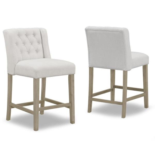 25.25 in. Aled Beige Fabric with Side Wings and Tufted Buttons Counter Stool (Set of 2)