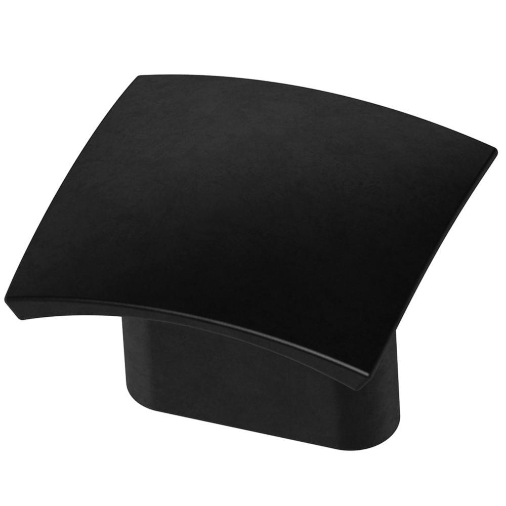 Convex 5/8 in. (16mm) Matte Black 1-5/16 in. Square Cabinet Knob