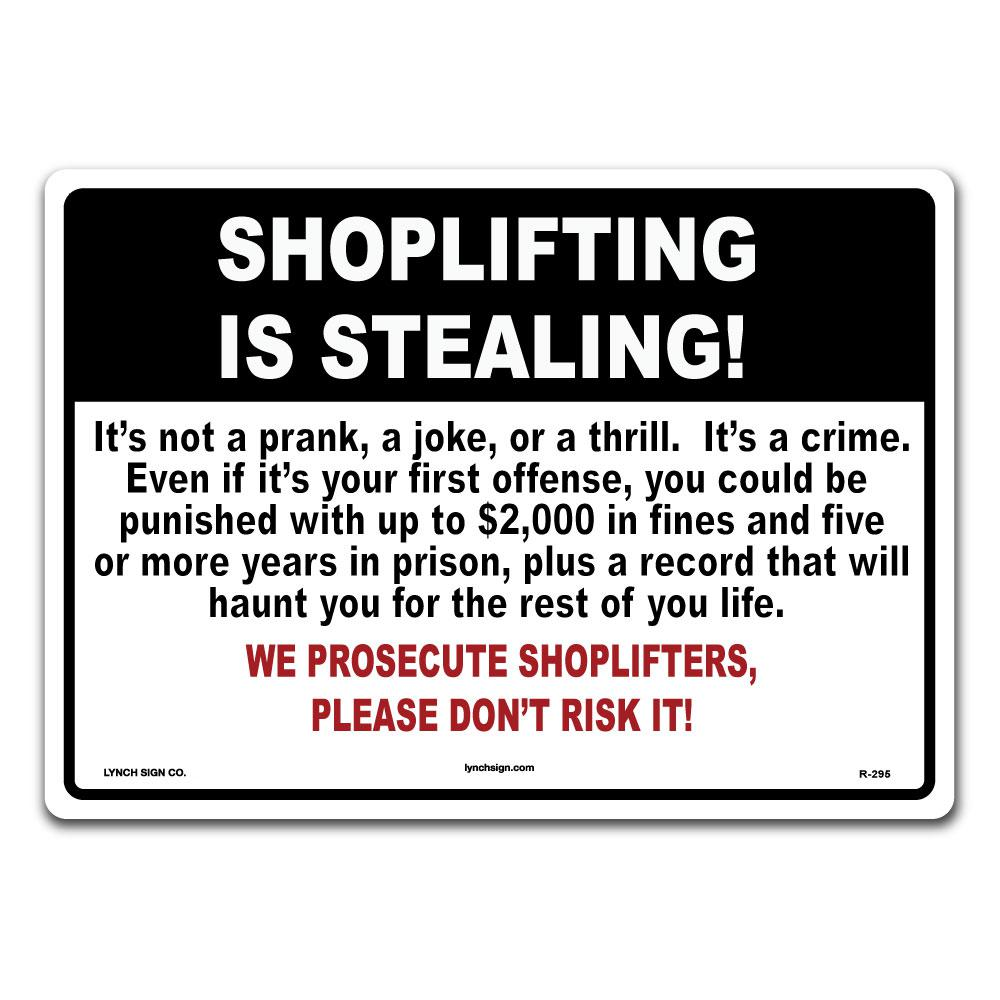 Lynch Sign 14 in  x 10 in  Shoplifting is Stealing Sign Printed on More  Durable Thicker Longer Lasting Plastic Styrene