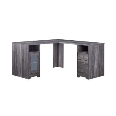 59 in. L-Shaped Dark Gray 2 Drawer Computer Desk with File Storage