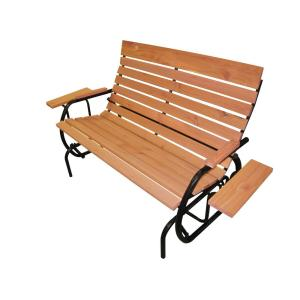 amberlog patio double glider bench