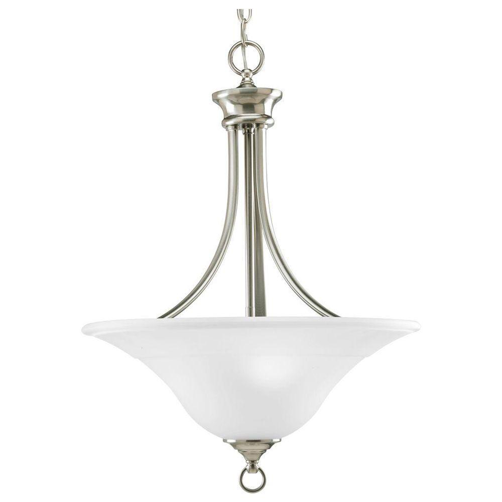 Progress Lighting Trinity Collection 3-Light Brushed Nickel Foyer Pendant with Etched Glass  sc 1 st  The Home Depot & Progress Lighting Trinity Collection 3-Light Brushed Nickel Foyer ... azcodes.com