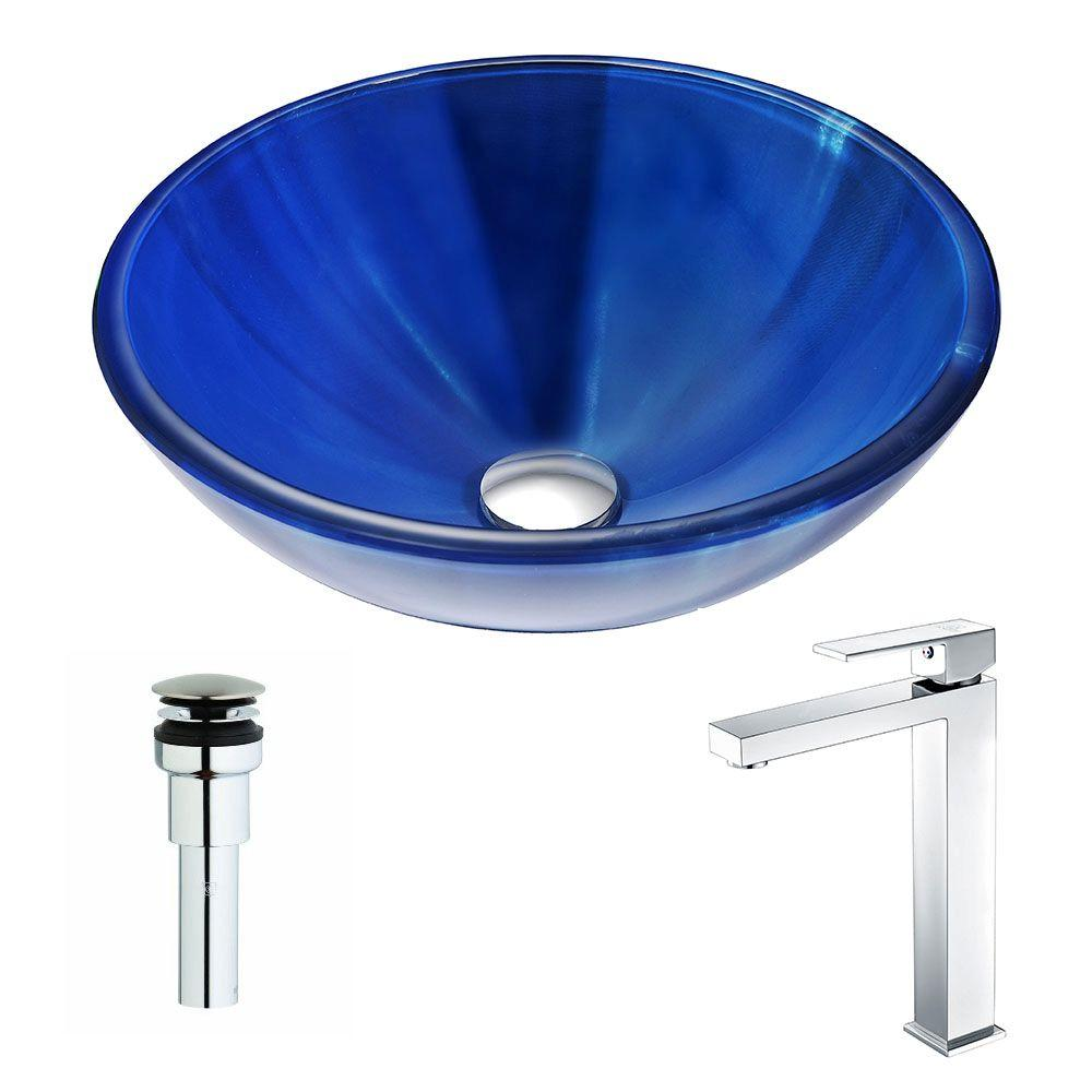 ANZZI Meno Series Deco-Glass Vessel Sink in Lustrous Blue with Enti Faucet in Polished Chrome was $319.99 now $255.99 (20.0% off)