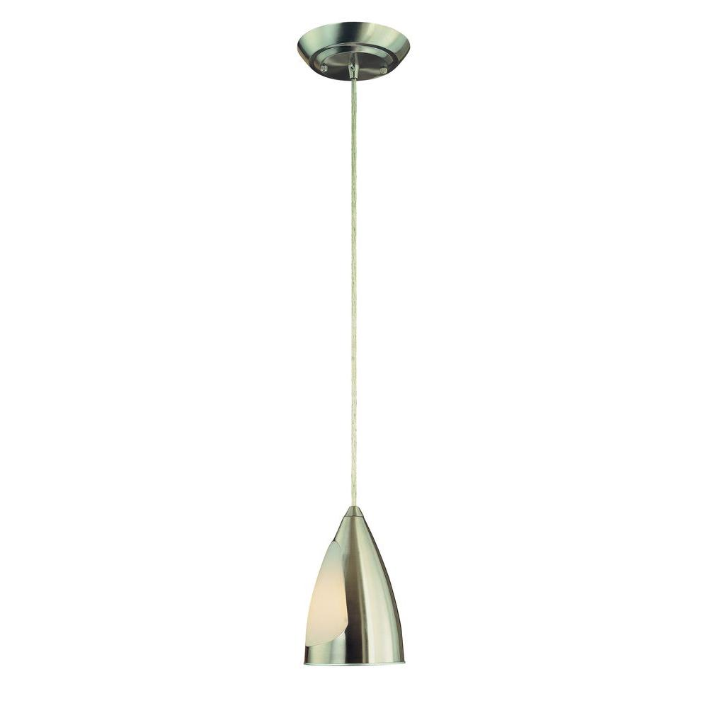 1-Light Brushed Steel Hanging Mini Pendant