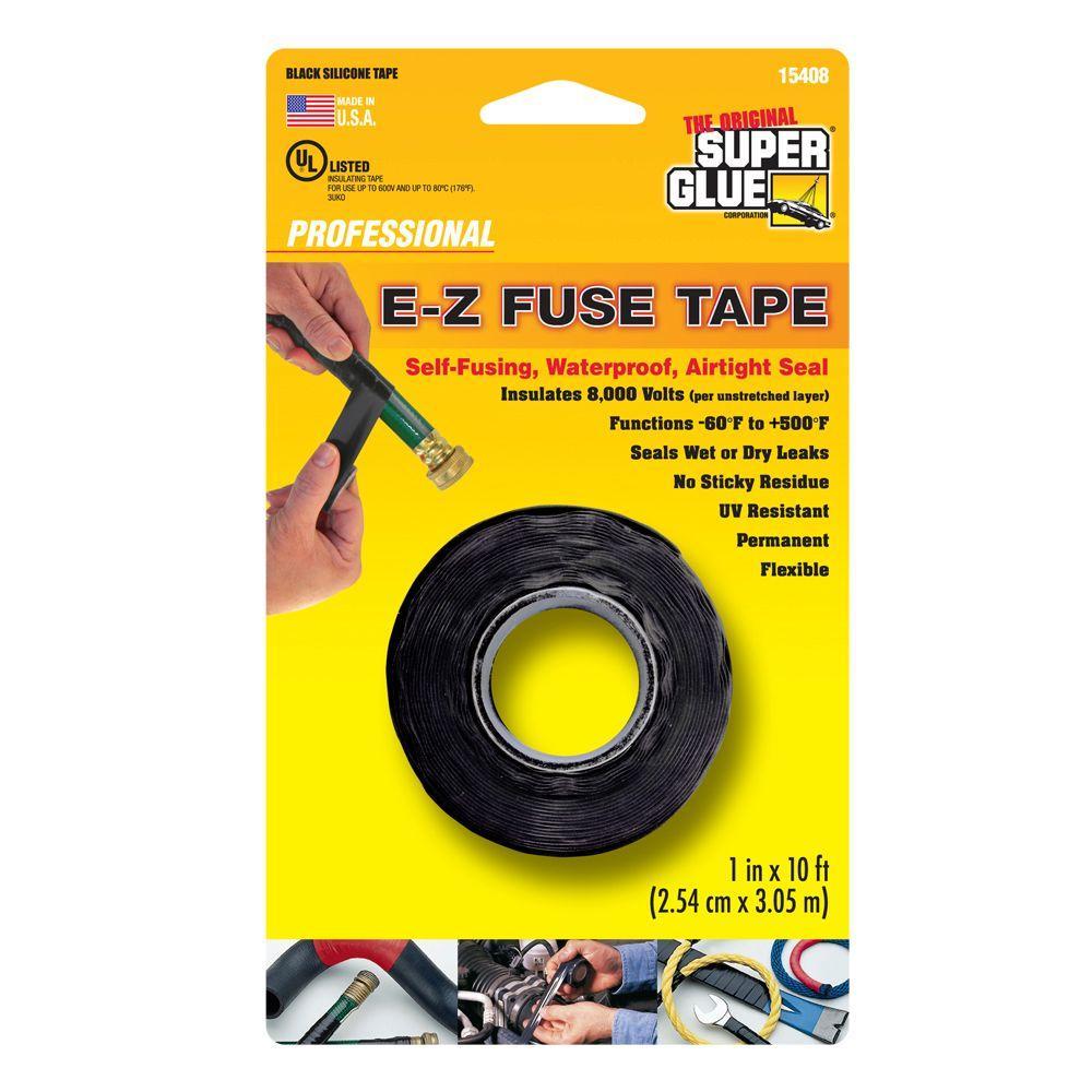 Super Glue 1 inch x 10 ft. Black E-Z Fuse Silicone Tape (12-Pack) by Super Glue