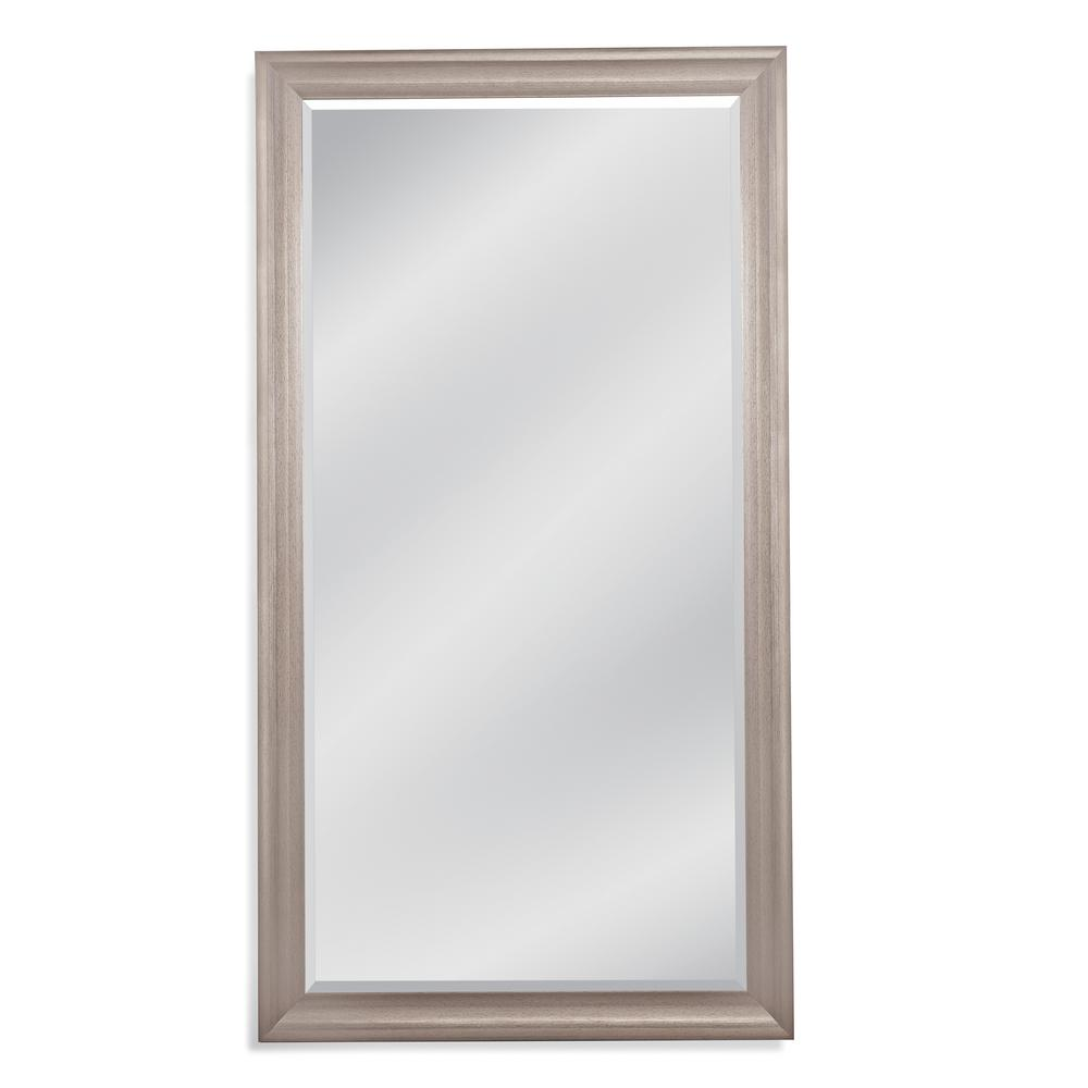 BASSETT MIRROR COMPANY Melissa Leaner Floor Mirror Basset Mirrors Melissa Leaner features an iconic beveled frame and albuminous silver finish. This piece is a timeless addition that fits seamlessly among contemporary and traditional motifs. Perfect for any room setting.