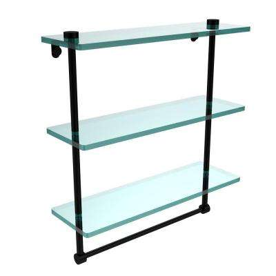 16 in. L  x 18 in. H  x 5 in. W 3-Tier Clear Glass Bathroom Shelf with Towel Bar in Matte Black