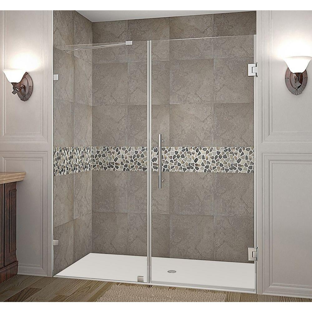 Nautis 66 in. x 72 in. Completely Frameless Hinged Shower Door
