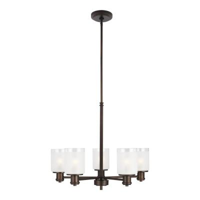 Norwood 5-Light Burnt Sienna Transitional Chandelier with Clear Highlighted Satin Etched Glass Shades
