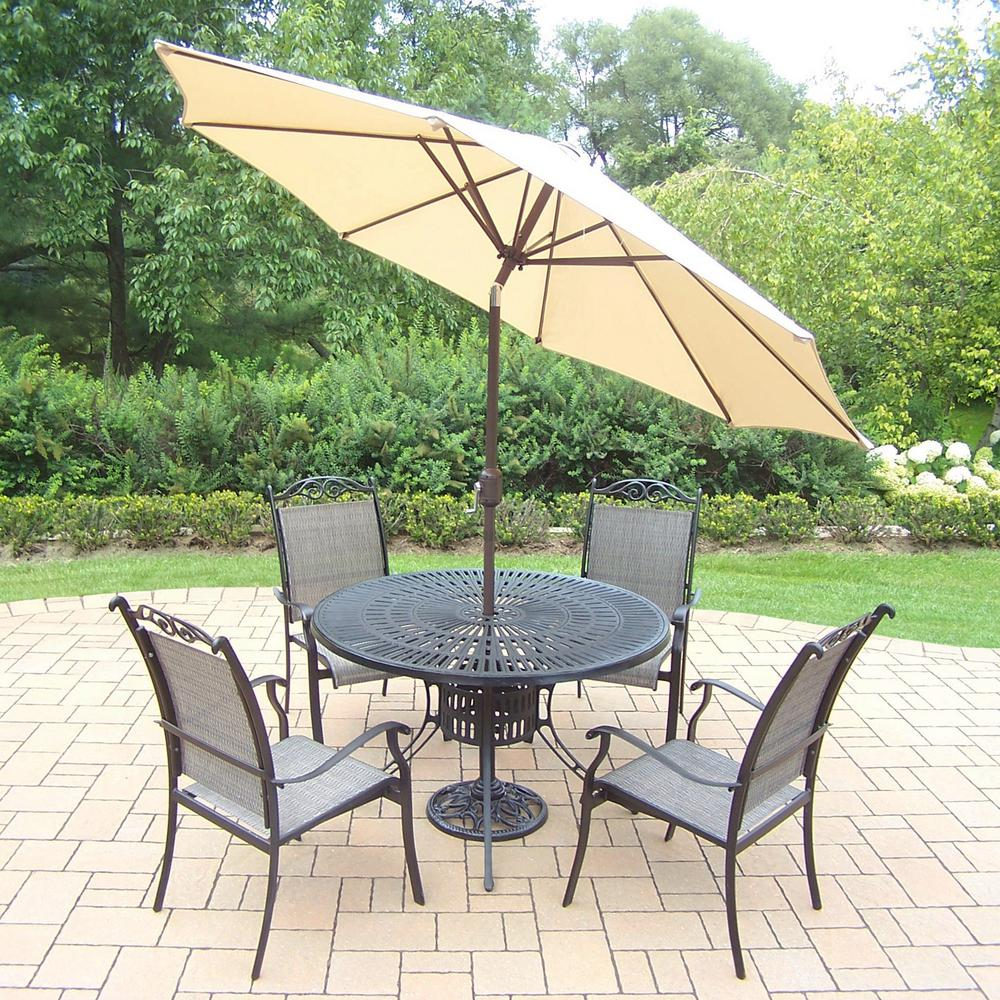 Black 7-Piece Aluminum Outdoor Dining Set and Beige Umbrella