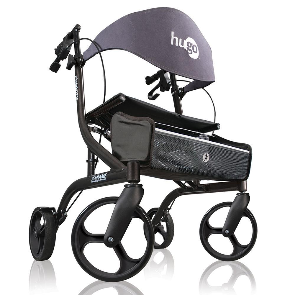 Explore 4-Wheel Side-Fold Rollator Rolling Walker with Seat, Backrest and Folding Basket in Pearl Black