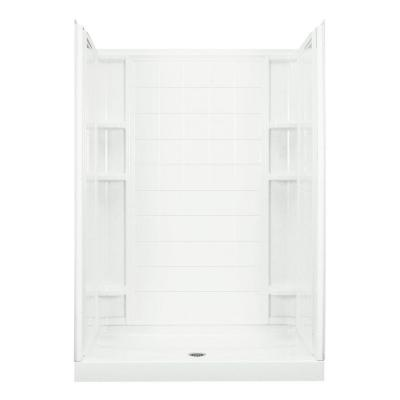 Ensemble 34 in. x 60 in. x 75-3/4 in. Shower Kit in White with Backers