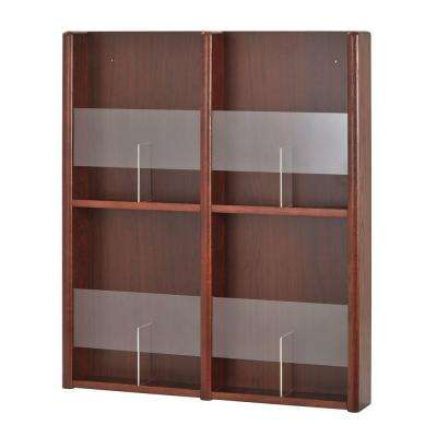 4 - 8 Pocket Oak/Acrylic Literature and Brochure Rack in Medium Cherry