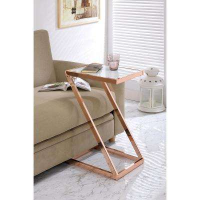 Laina Side Table, Frosted Glass and Rose Gold