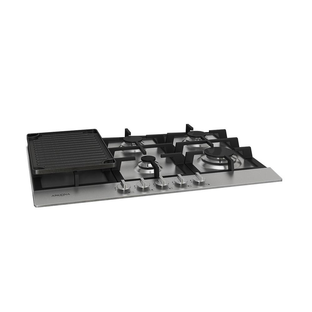 Gas Cooktop In Stainless Steel With 5 Burners Including Cast Iron Griddle