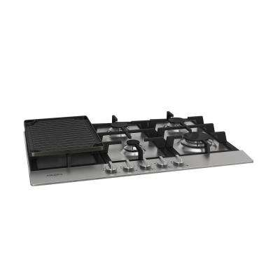 30 in. Gas Cooktop in Stainless Steel with 5 Burners including Cast Iron Griddle