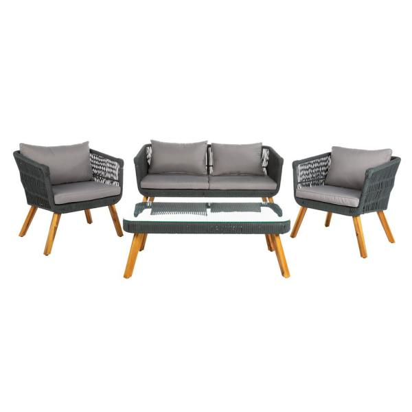 Denridge Gray 4-Piece Wood Patio Conversation Set with Gray Cushions