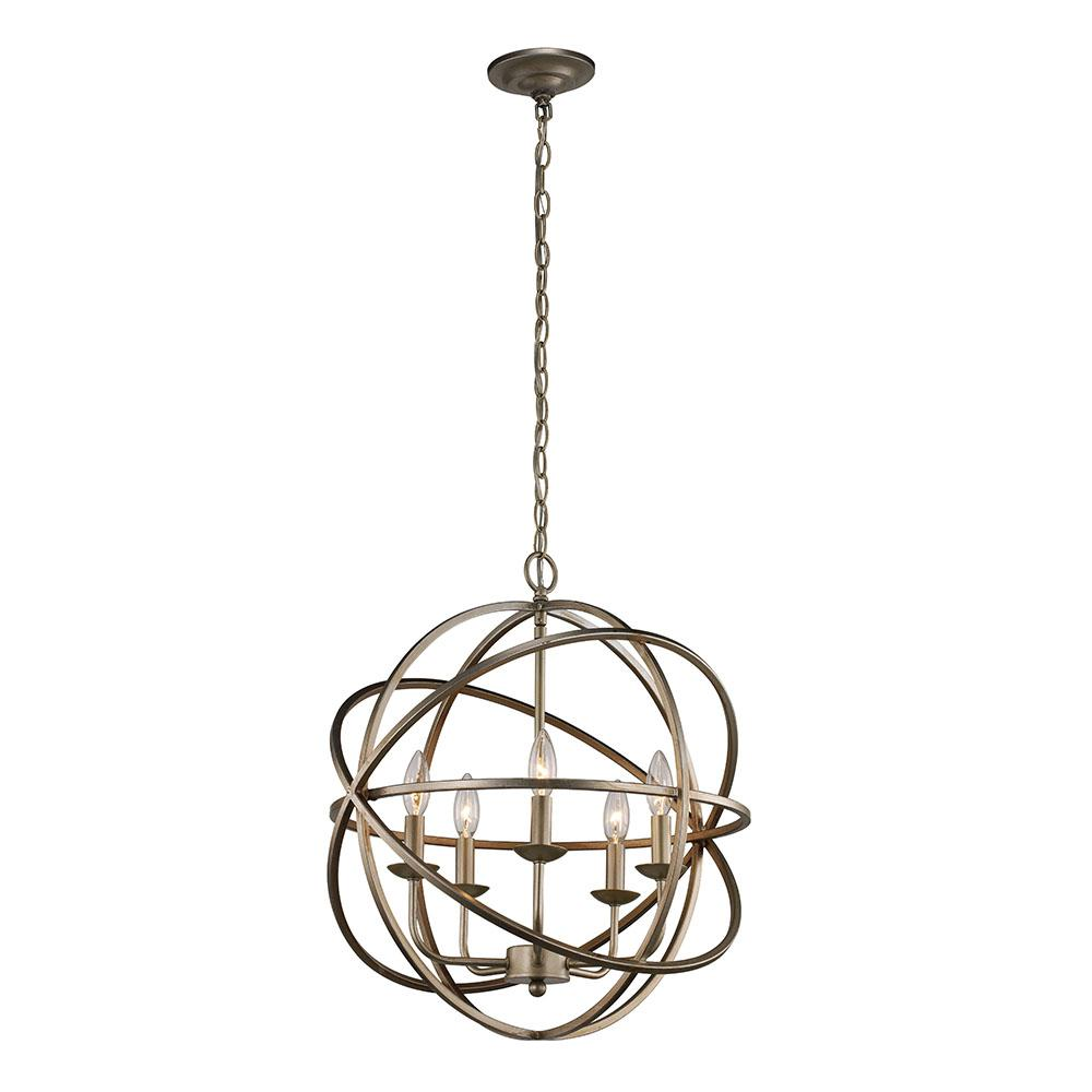 Home Decorators Collection Sarolta Sands 5 Light Antique Silver Orb Pendant