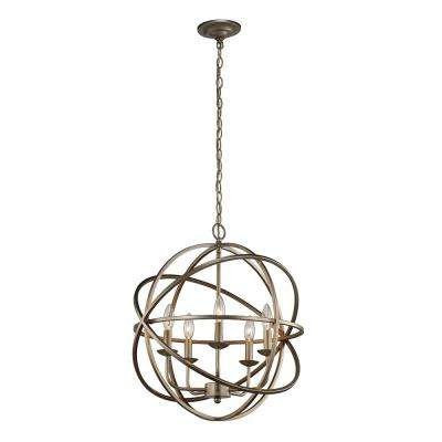 Sarolta Sands Collection 5-Light Antique Silver Orb Pendant