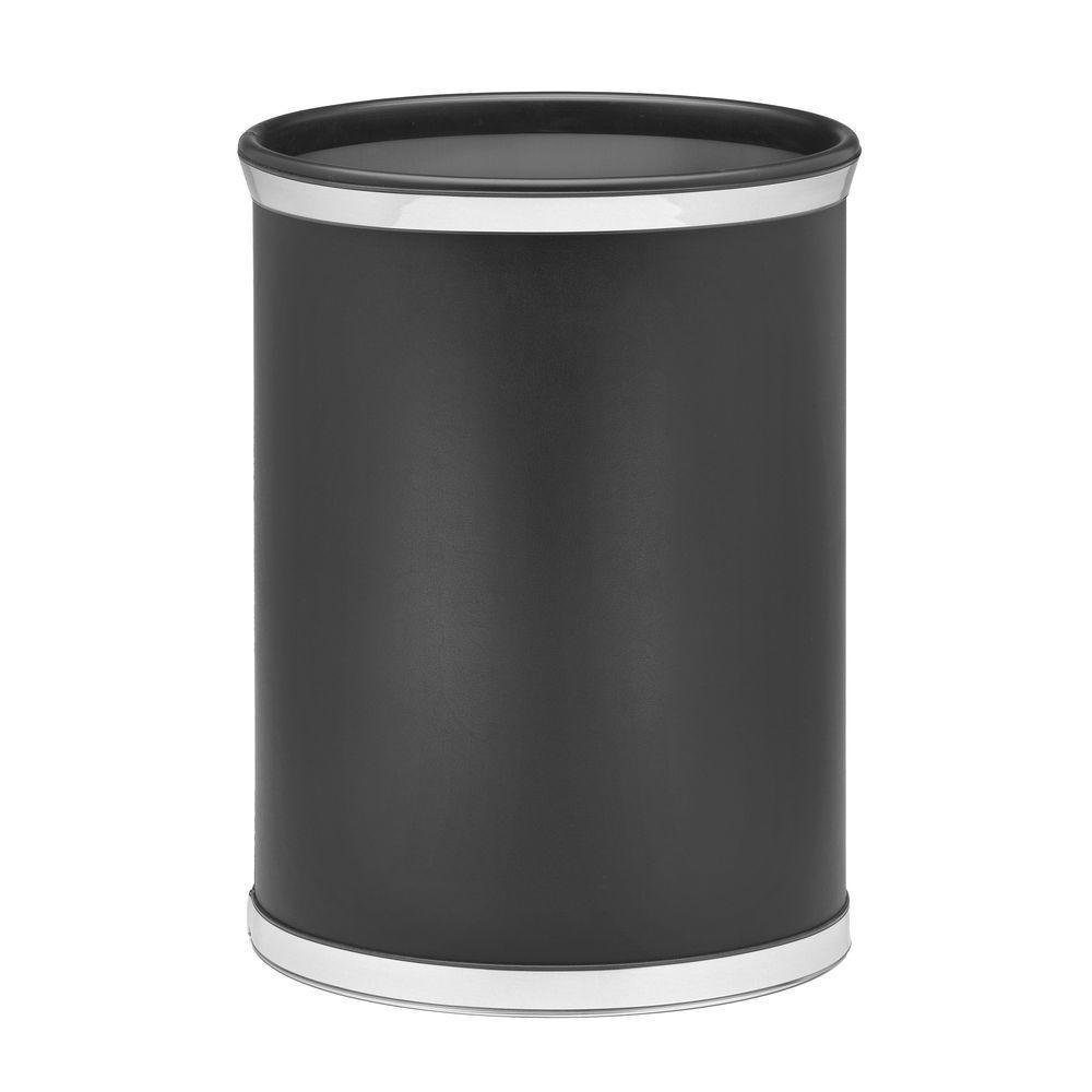 Sophisticates 13 Qt. Black w/Polished Chrome Oval Waste Basket